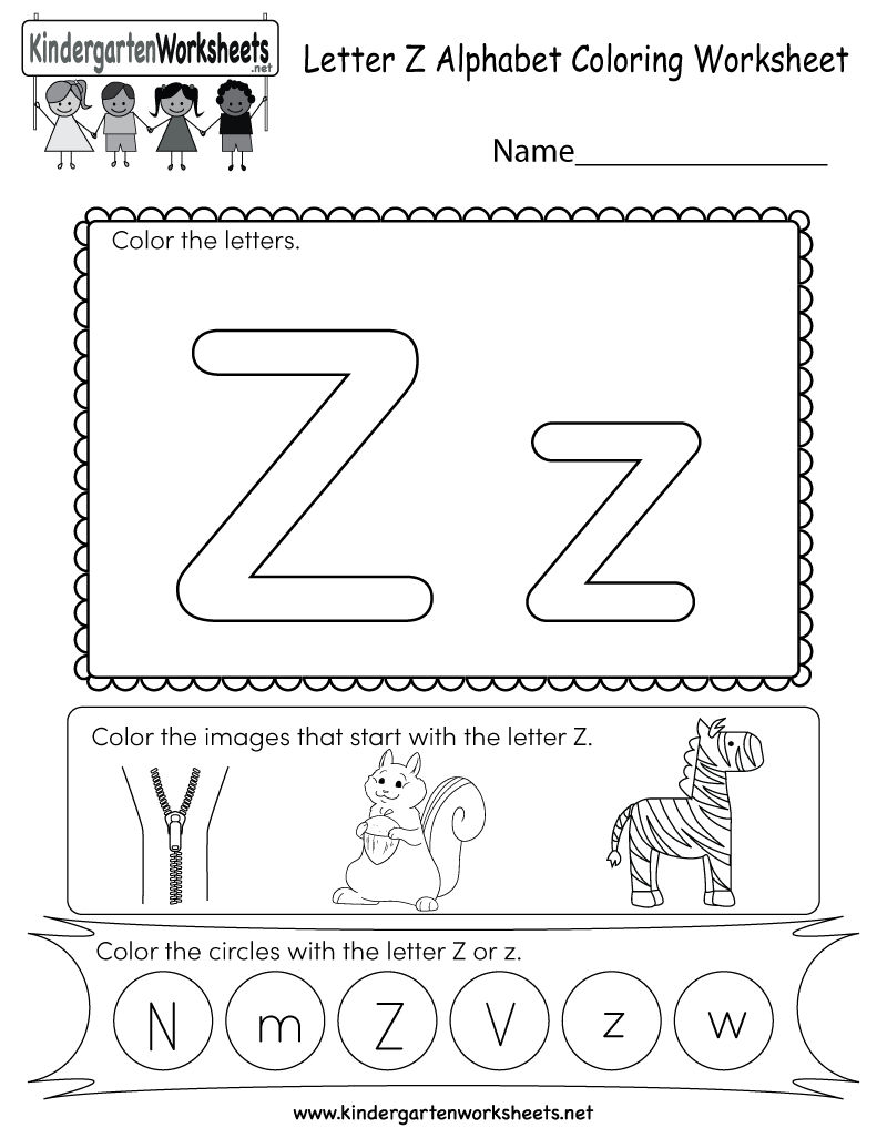 Free Printable Letter Z Coloring Worksheet For Kindergarten - Letter | Letter Z Worksheets Free Printable
