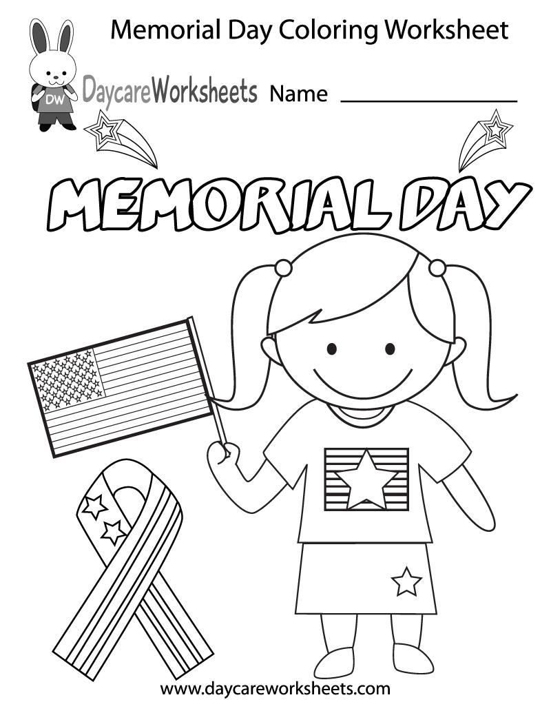 Free Printable Memorial Day Coloring Worksheet For Preschool | Memorial Day Free Printable Worksheets