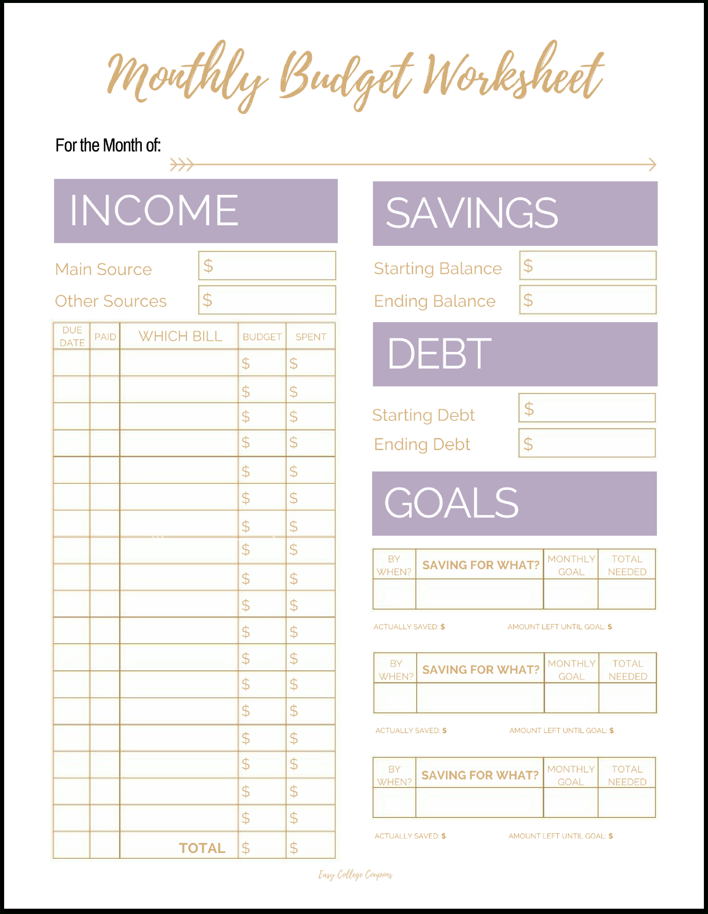 Free Printable Monthly Budget Template | Free Printable Budget Worksheets