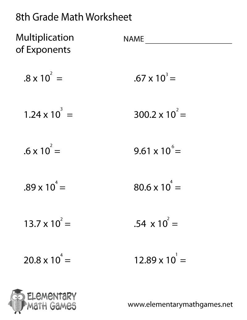 Free Printable Multiplication Of Exponents Worksheet For Eighth Grade | 8Th Grade Worksheets Printable Free