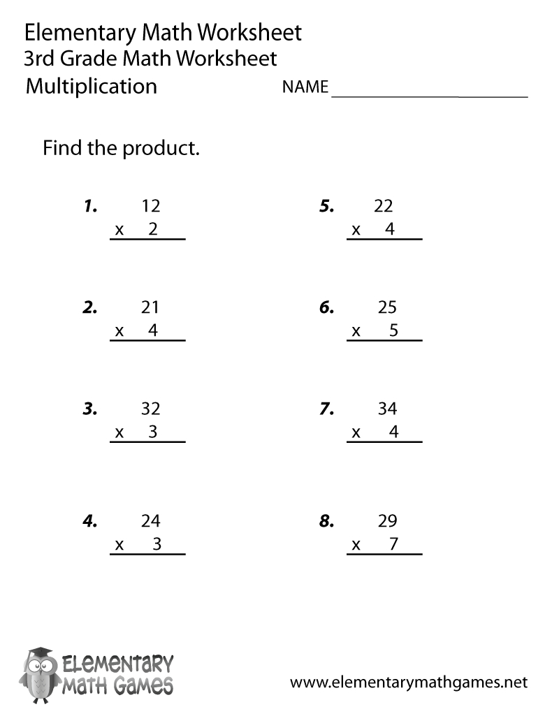 Free Printable Multiplication Worksheet For Third Grade | Printable 3Rd Grade Math Worksheets