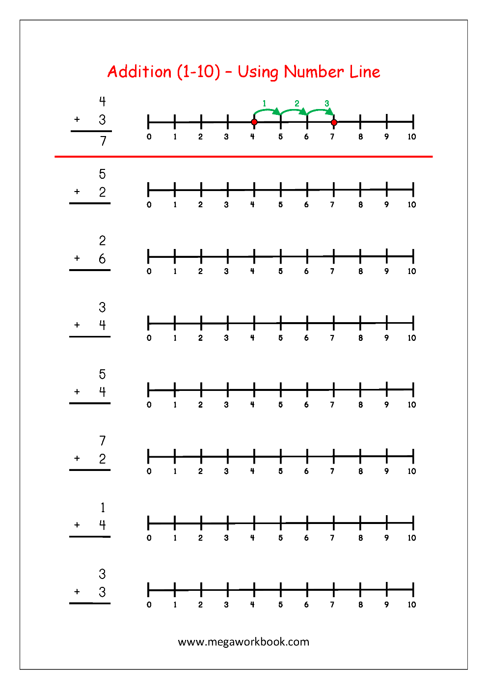 Free Printable Number Addition Worksheets (1-10) For Kindergarten | Free Printable Number Line Worksheets
