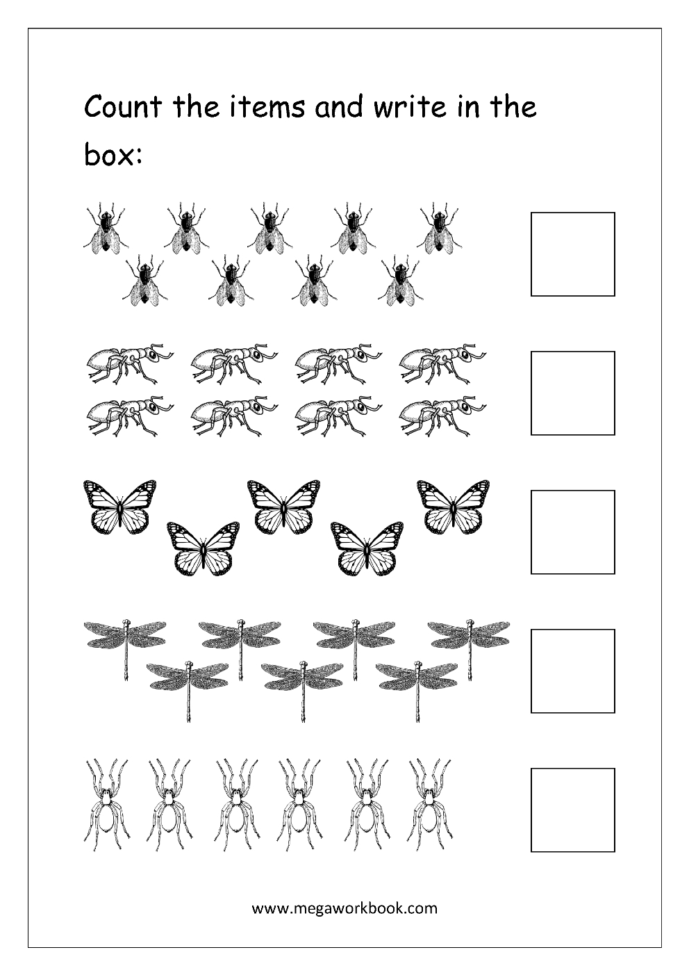 Free Printable Number Counting Worksheets - Count And Match - Count   Free Printable Counting Worksheets 1 20