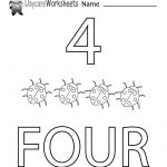 Free Printable Number Four Learning Worksheet For Preschool | Daycare Worksheets Printable