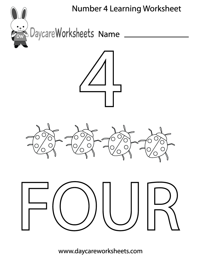 Free Printable Number Four Learning Worksheet For Preschool | Daycare Worksheets Printable