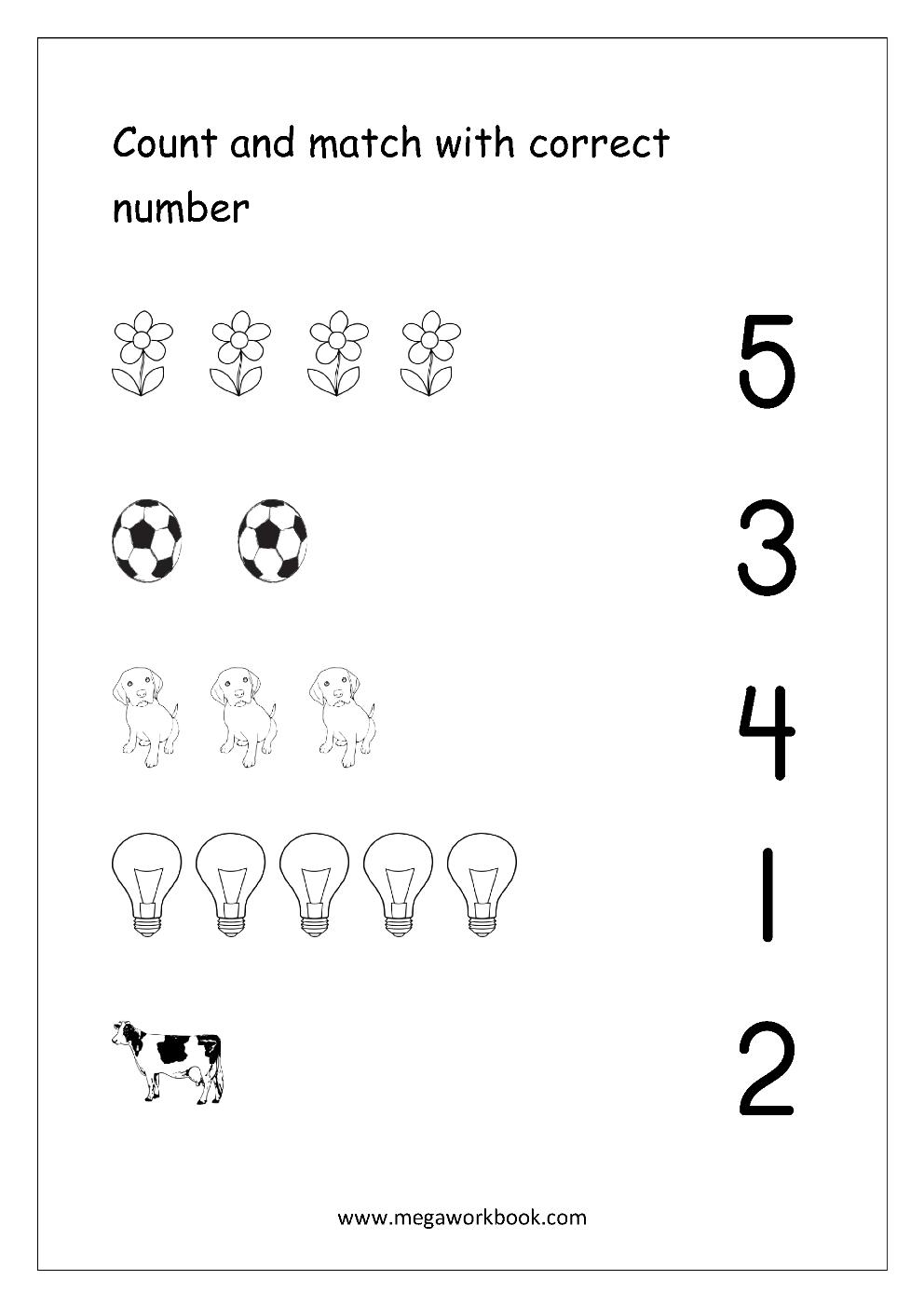 Free Printable Number Matching Worksheets For Kindergarten And | Printable Matching Worksheets For Preschoolers