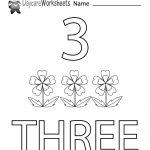 Free Printable Number Three Learning Worksheet For Preschool | Daycare Worksheets Printable