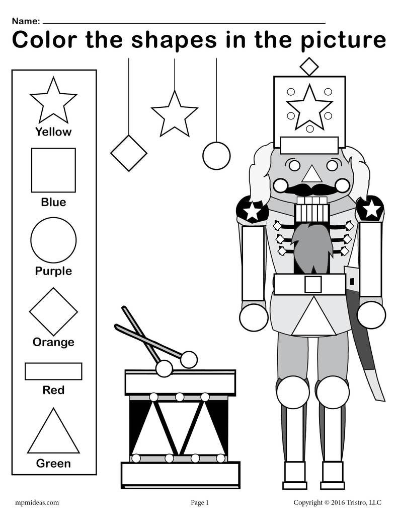 Free Printable Nutcracker Shapes Worksheet & Coloring Page | Nutcracker Worksheets Printable