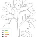 Free Printable Preschool Fall Themed Color By Number Worksheet | Free Printable Fall Worksheets Kindergarten