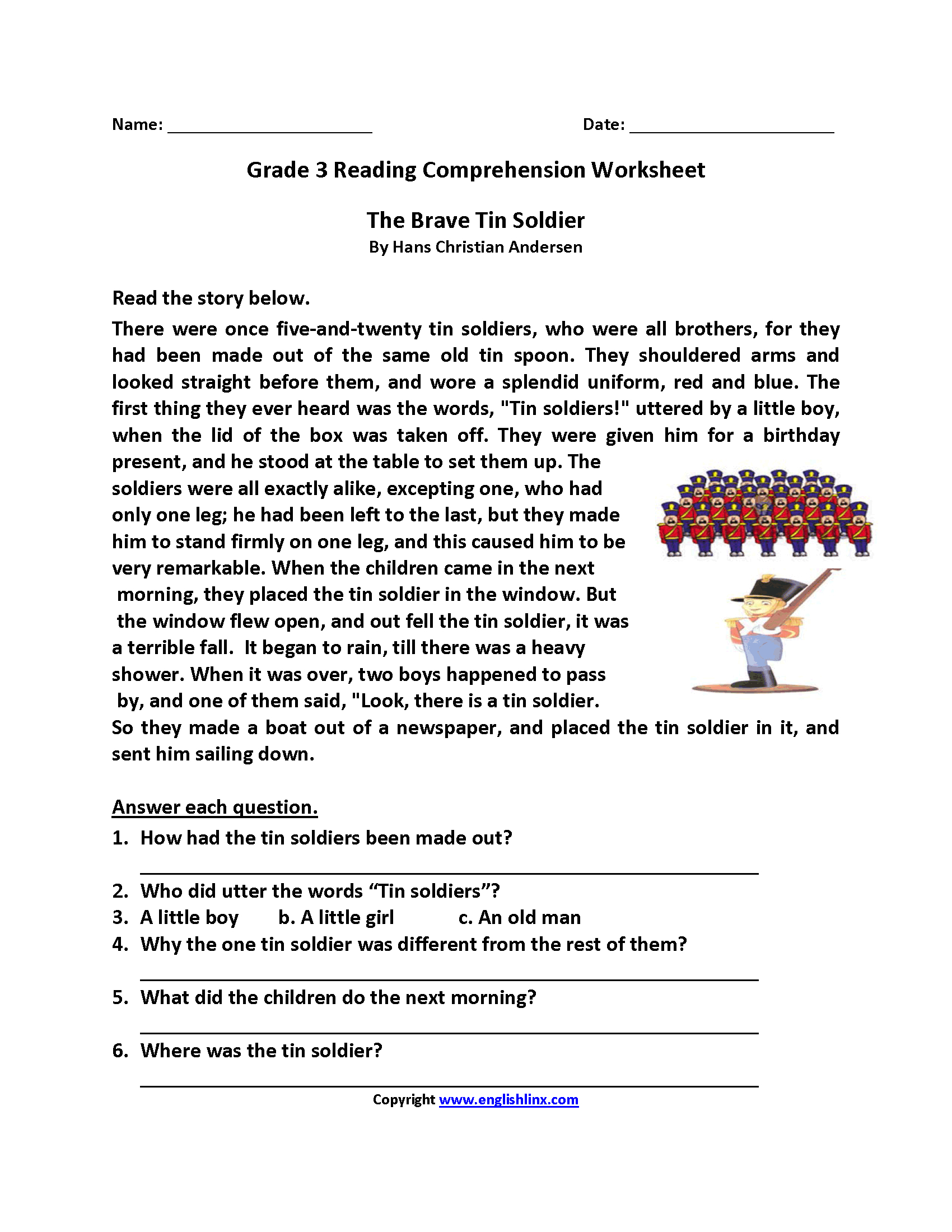 Free Printable Reading Comprehension Worksheets 3Rd Grade For Free | Printable Comprehension Worksheets For Grade 6