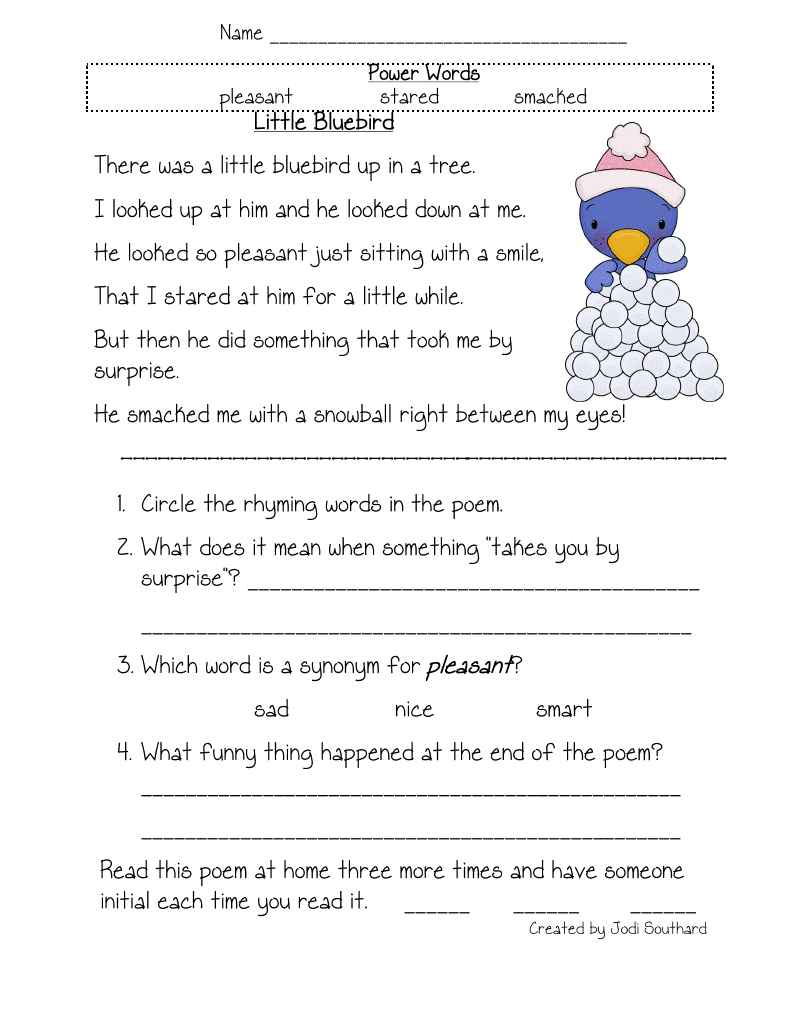 Free Printable Reading Comprehension Worksheets For Kindergarten | 4Th Grade Comprehension Worksheets Printable