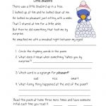 Free Printable Reading Comprehension Worksheets For Kindergarten | Free Printable English Comprehension Worksheets For Grade 4