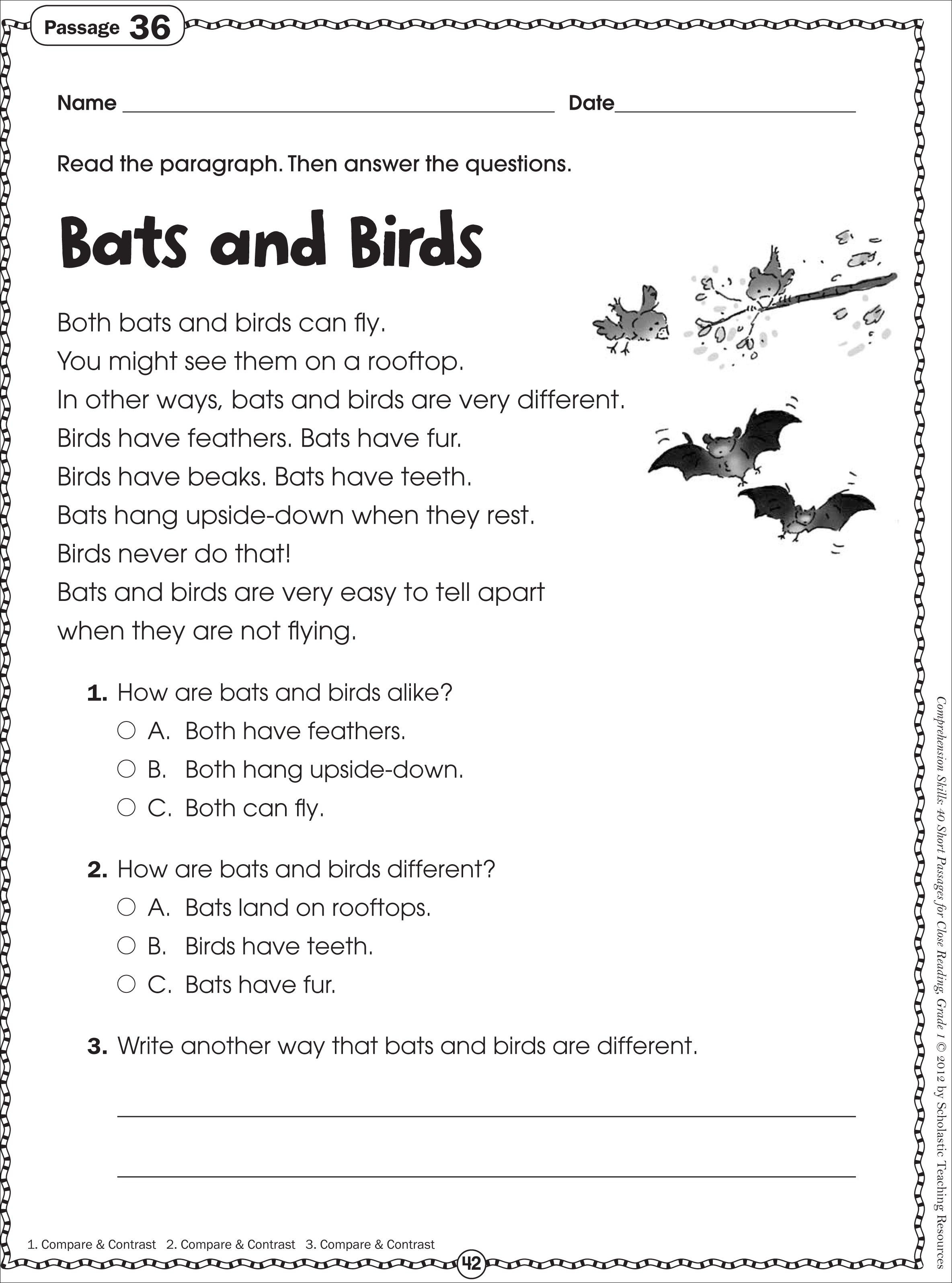 Free Printable Reading Comprehension Worksheets For Kindergarten | Printable Comprehension Worksheets For Grade 3