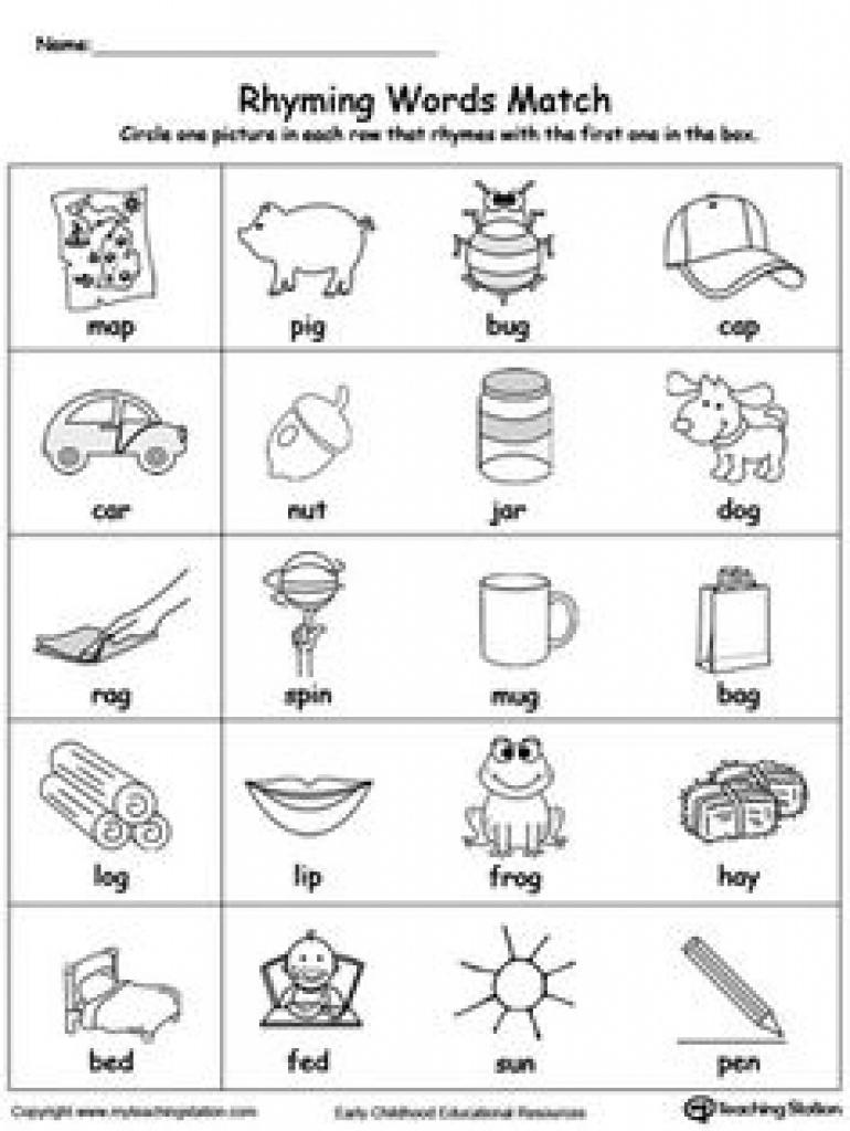 Free Printable Rhymes Rhyming Words Worksheets For Preschool - Free   Free Printable Rhyming Words Worksheets