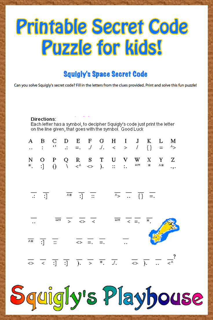 Free Printable Secret Code Word Puzzle For Kids. This Puzzle Has A   Printable Secret Code Worksheets