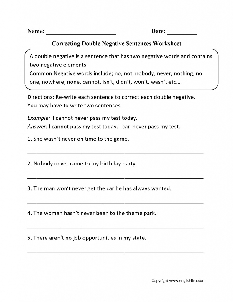 Free Printable Sentence Correction Worksheets The Best Image - Free | Free Printable Sentence Correction Worksheets