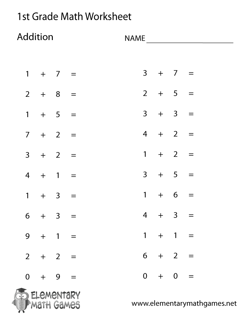 Free Printable Simple Addition Worksheet For First Grade - Free   Free Printable Fraction Worksheets