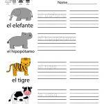 Free Printable Spanish Learning Worksheet For Kindergarten   Free Printable Spanish Worksheets For Beginners