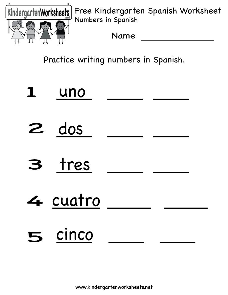 Free Printable Spanish Worksheet For Kindergarten | Kindergarten Homework Printable Worksheets