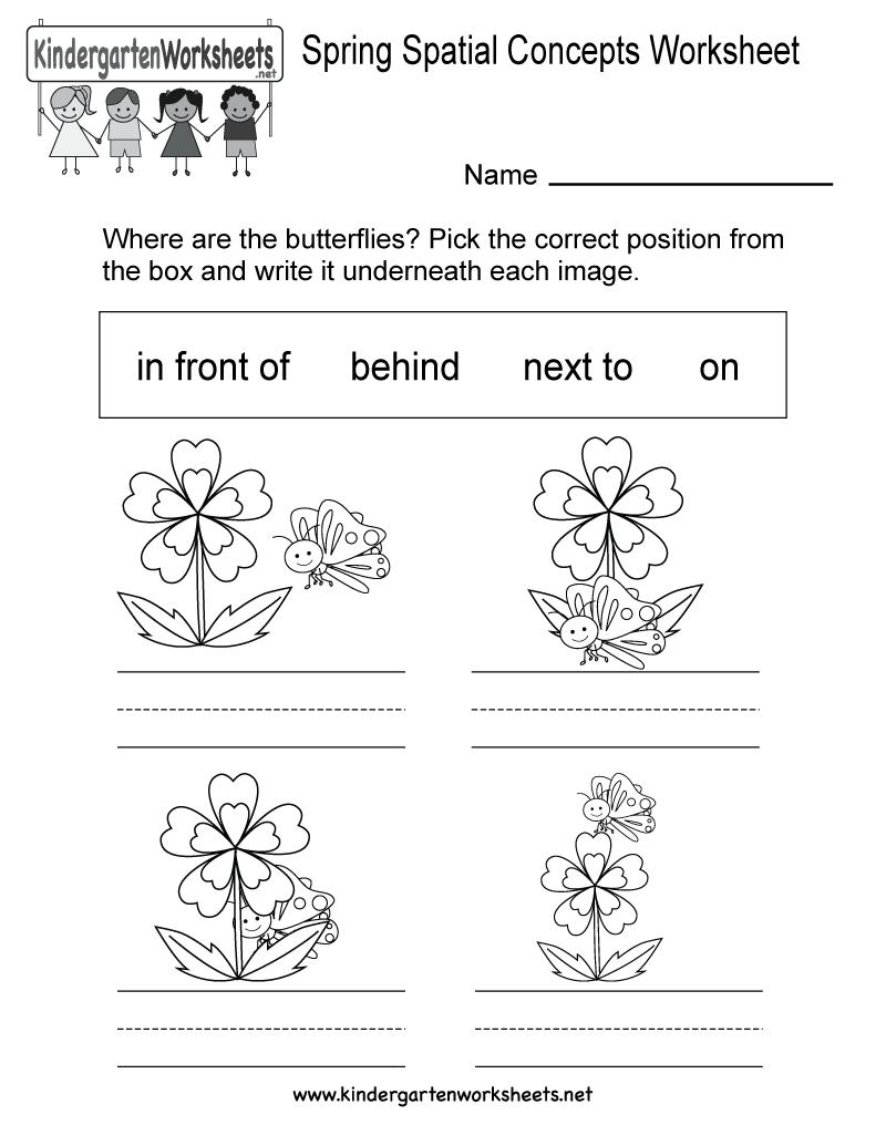 Free Printable Spring Spatial Concepts Worksheet For Kindergarten | Free Printable Spring Worksheets For Kindergarten