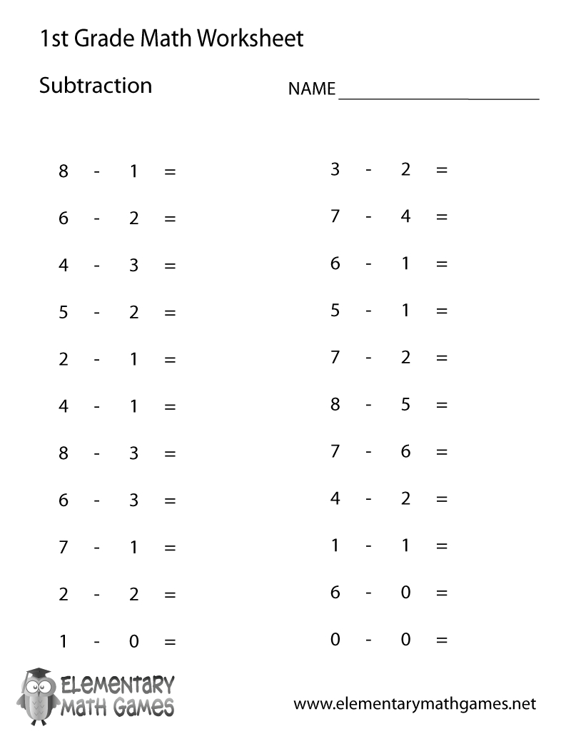 Free Printable Subtraction Worksheet For First Grade | First Grade Math Worksheets Printable