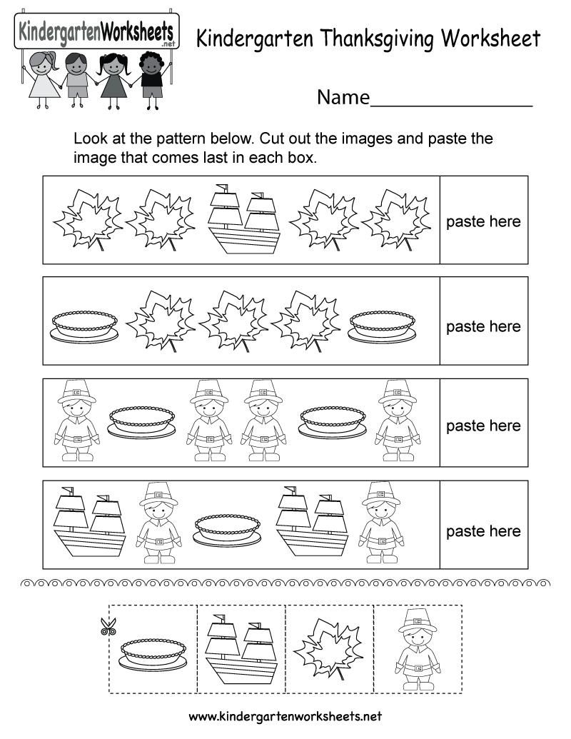 Free Printable Thanksgiving Worksheet For Kindergarten - Free | Free Printable Thanksgiving Worksheets