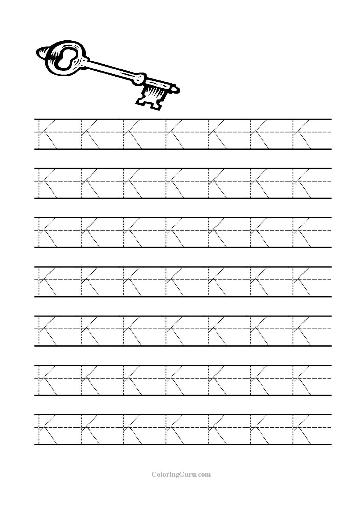 Free Printable Tracing Letter K Worksheets For Preschool | Manuscript Printable Worksheets
