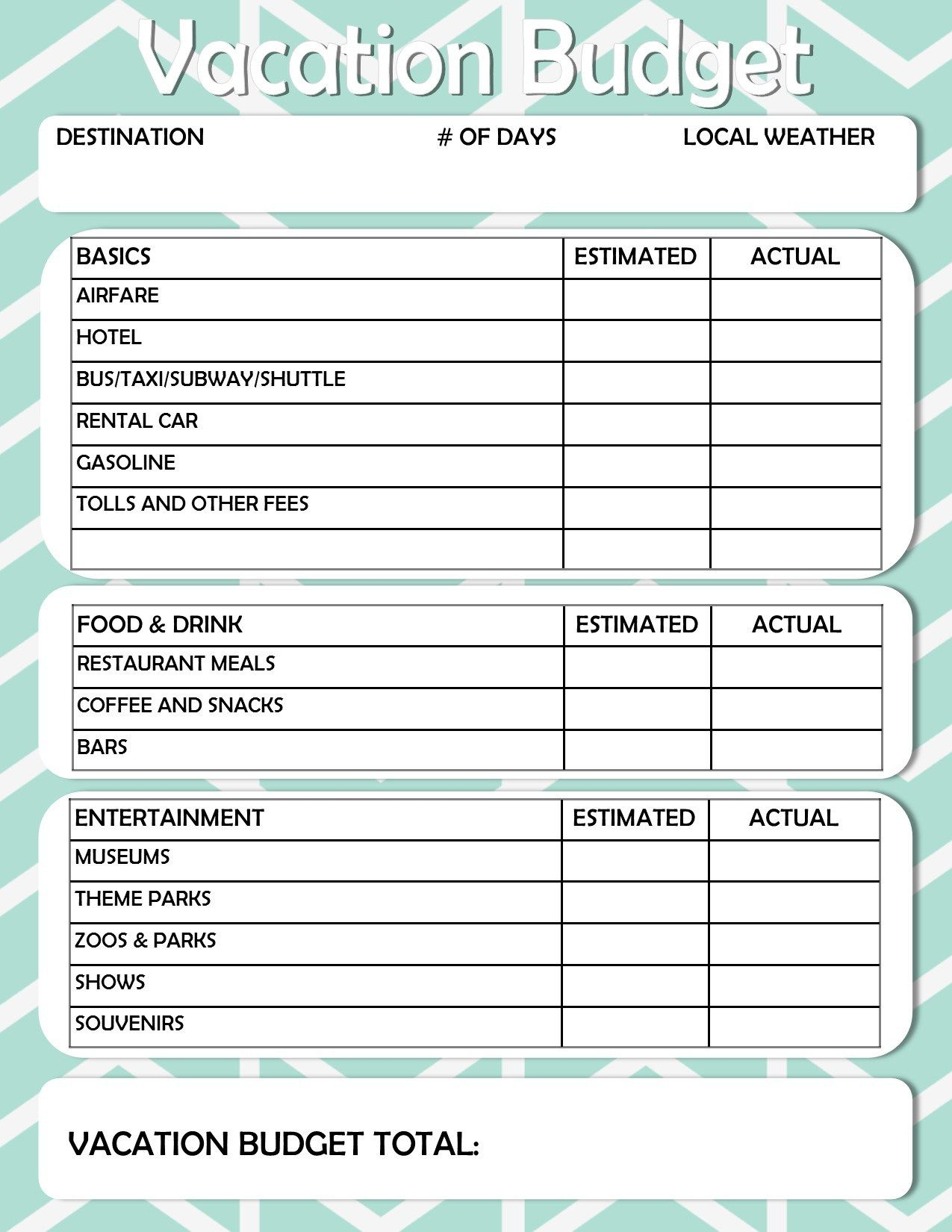 Free Printable: Vacation Travel Budget Worksheet | Diy / Did That | Vacation Budget Worksheet Printable