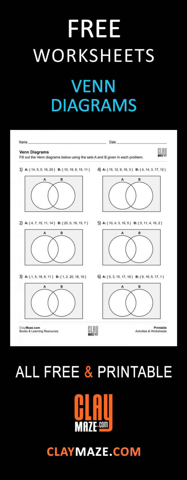 Free Printable Venn Diagram Math Worksheets