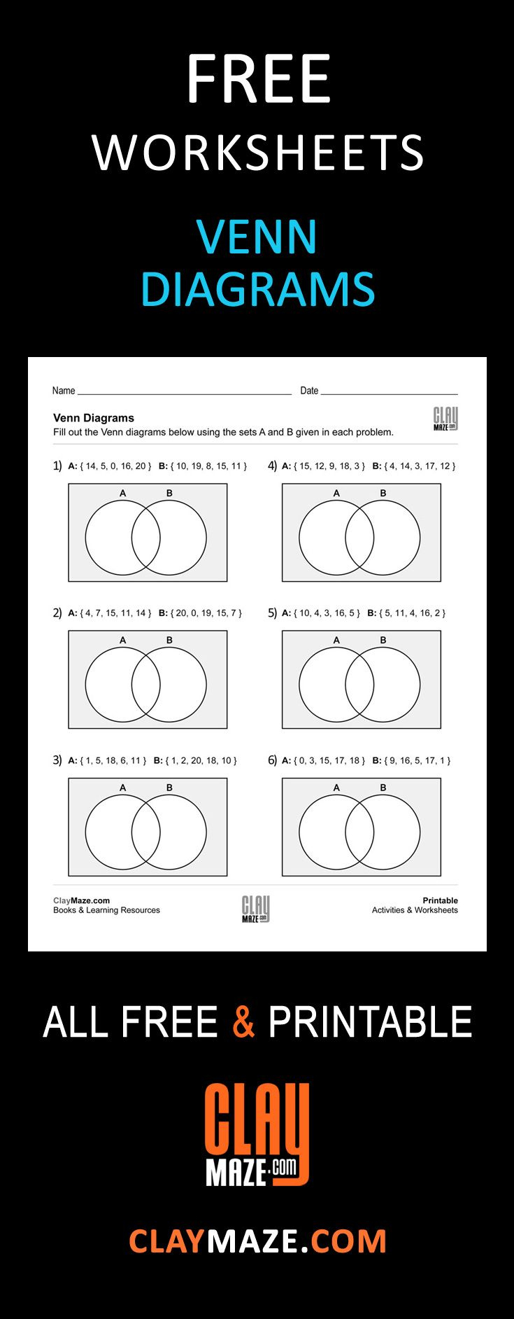 Free, Printable Venn Diagrams Worksheet - These Are Good For | Free Printable Venn Diagram Math Worksheets