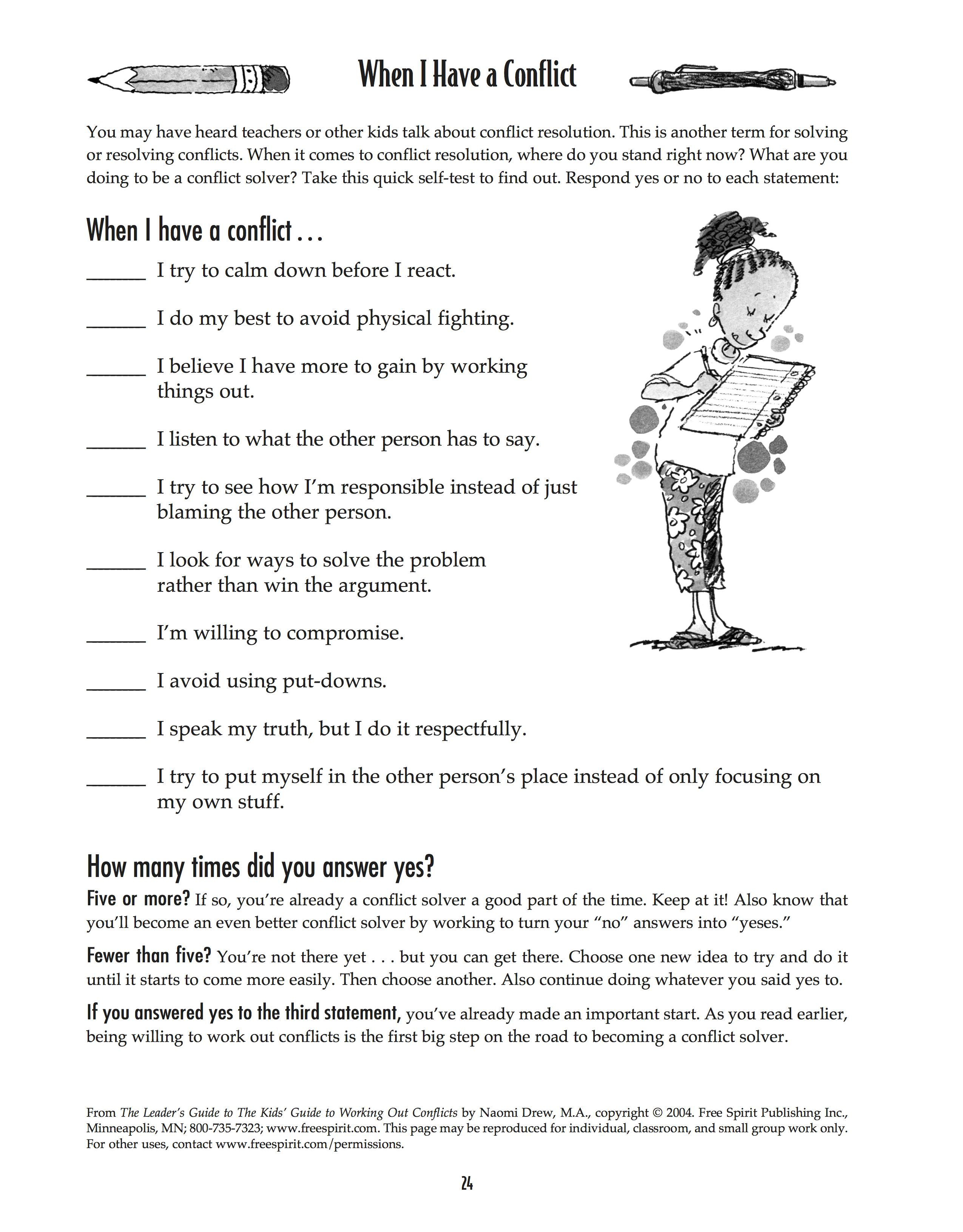 Free Printable Worksheet: When I Have A Conflict. A Quick Self-Test | Free Printable Self Control Worksheets