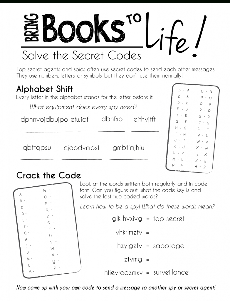 Free Printable Worksheets--Keep The Kids Busy During Summer Break | Printable Secret Code Worksheets