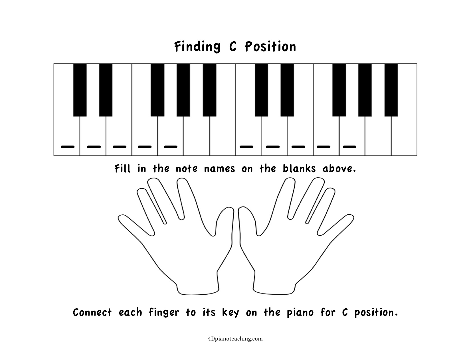 Free Printables: C Position Worksheets - 4Dpianoteaching | Blank Keyboard Worksheet Printable