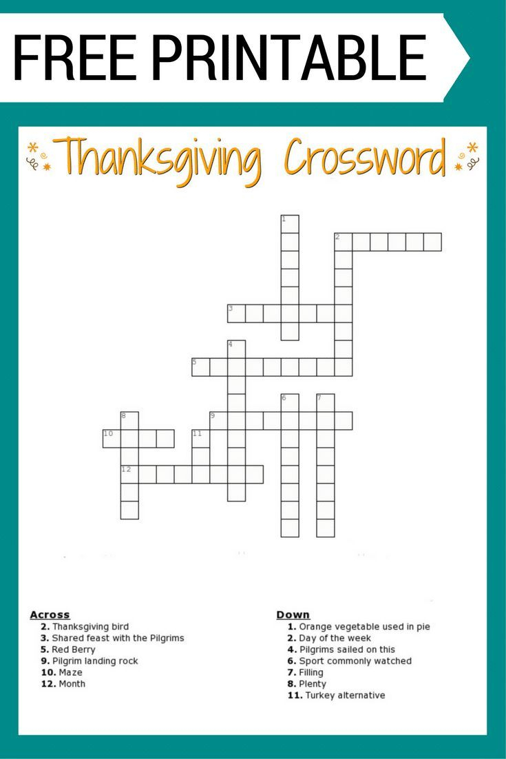 Free #thanksgiving Crossword Puzzle #printable Worksheet Available | Free Printable Crossword Puzzle Worksheets