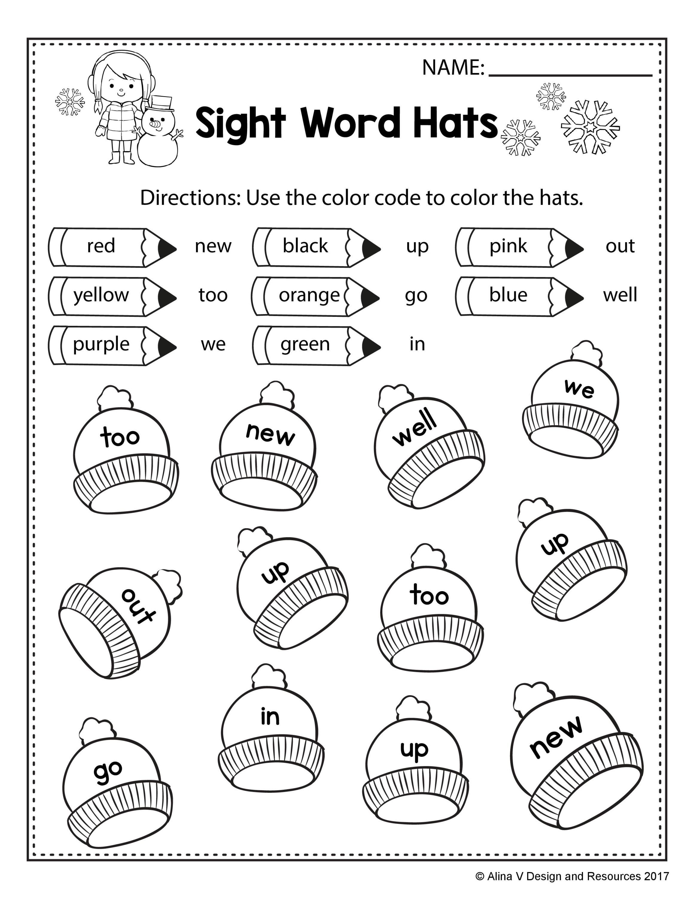Free Winter Literacy Worksheet For Kindergarten (No Prep | Alina V | Free Printable Kindergarten Worksheets Color Words