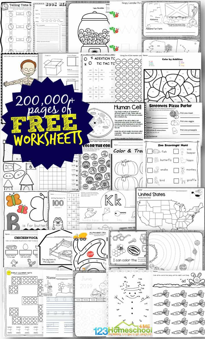 Free Worksheets - 200,000+ For Prek-6Th | 123 Homeschool 4 Me | Free Printable Kid Activities Worksheets