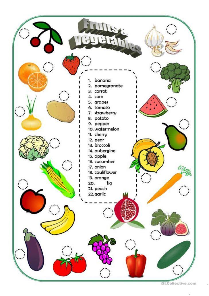 Vegetables Worksheets Printables