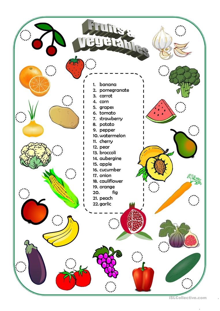 Fruits And Vegetables Worksheet - Free Esl Printable Worksheets Made | Vegetables Worksheets Printables