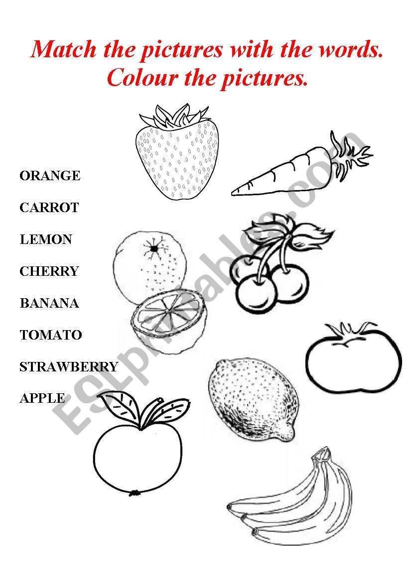 Fruits, Vegetables - Esl Worksheetjudyna | Vegetables Worksheets Printables