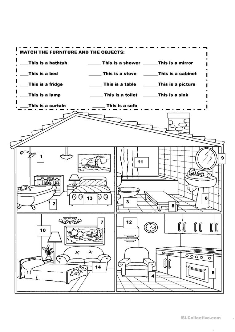 Furniture In The House Worksheet - Free Esl Printable Worksheets   Home Worksheets Printables