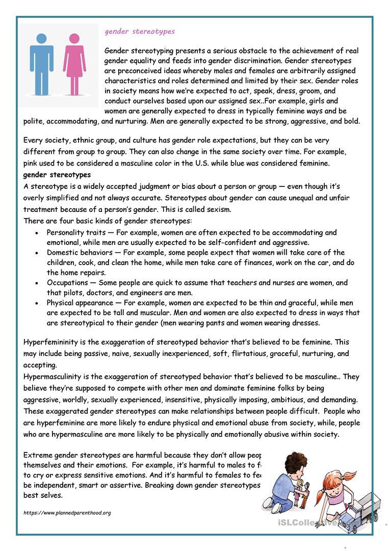 Gender Stereotypes Worksheet - Free Esl Printable Worksheets Made | Stereotypes Printable Worksheets
