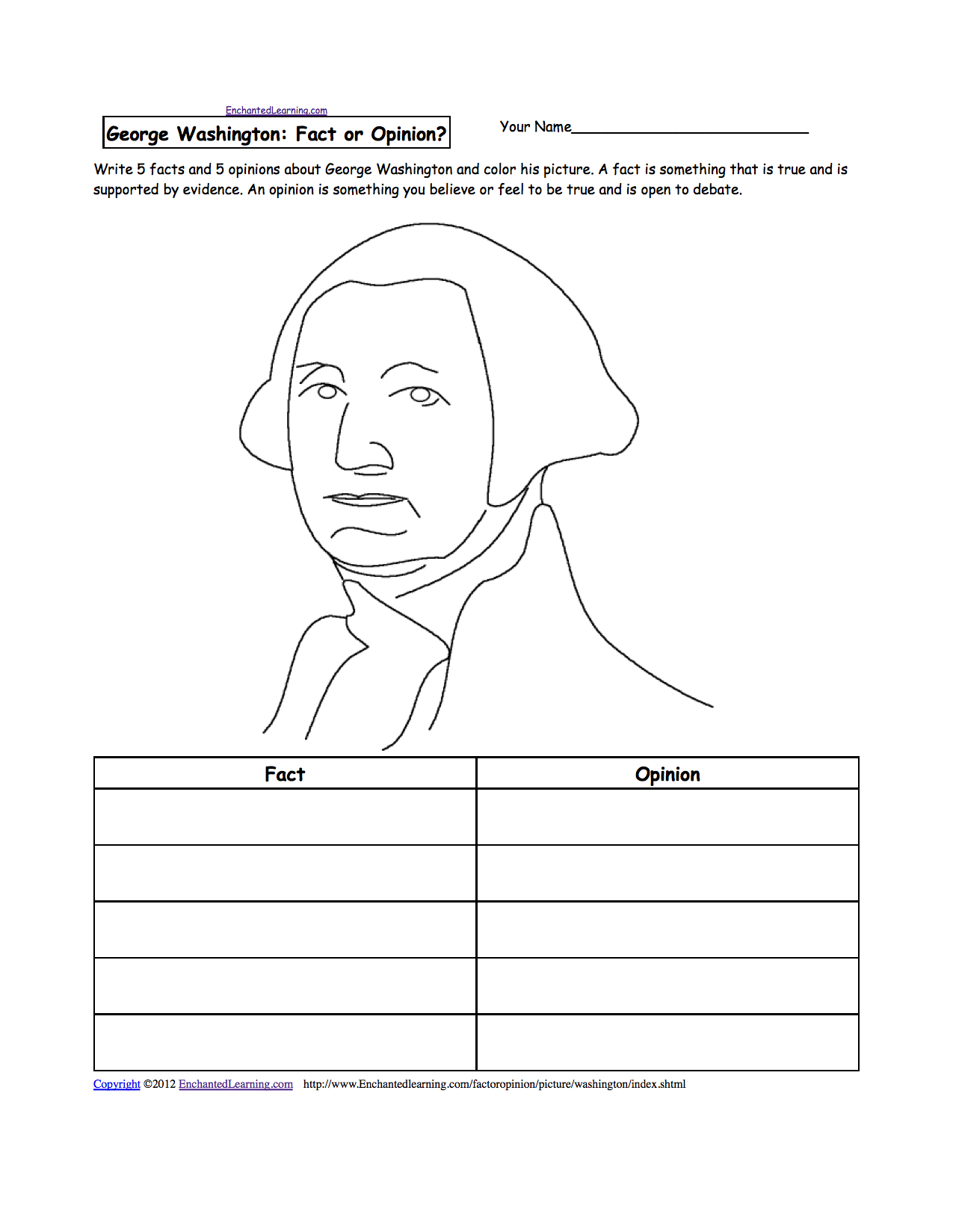 George Washington - Enchantedlearning | Free Printable George Washington Worksheets