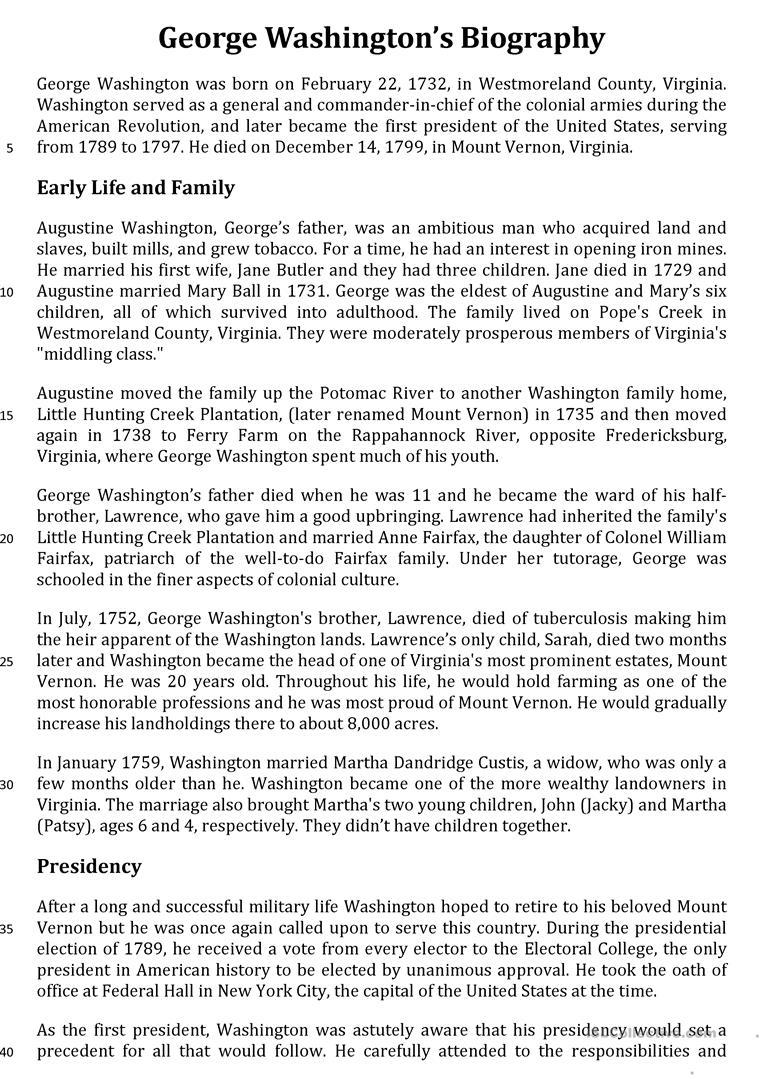 George Washington's Biography Worksheet - Free Esl Printable | George Washington Printable Worksheets