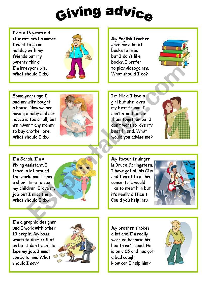 Giving Advice - Esl Worksheetsilvia.patti | Giving Advice Printable Worksheets