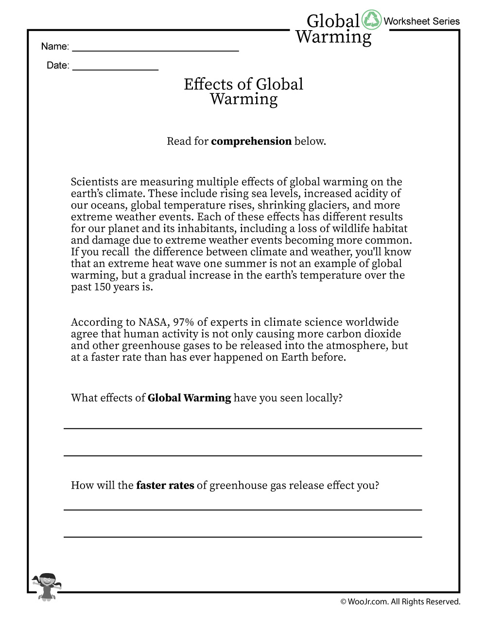 Global Warming Effects Printable Reading Worksheet | Woo! Jr. Kids | Climate Change Printable Worksheets