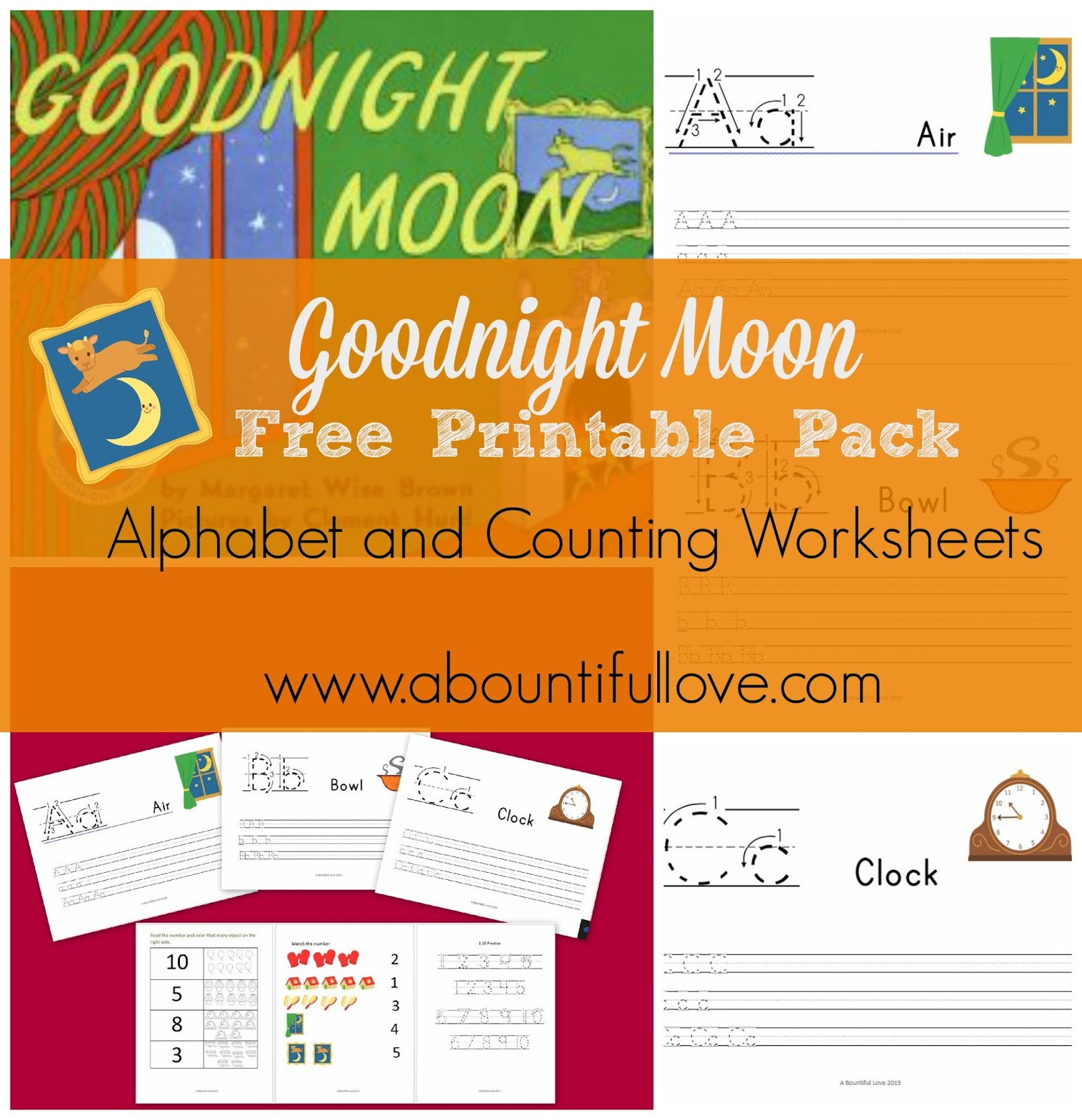 Goodnight Moon Free Printable Pack - A Bountiful Love | Goodnight Moon Printable Worksheets