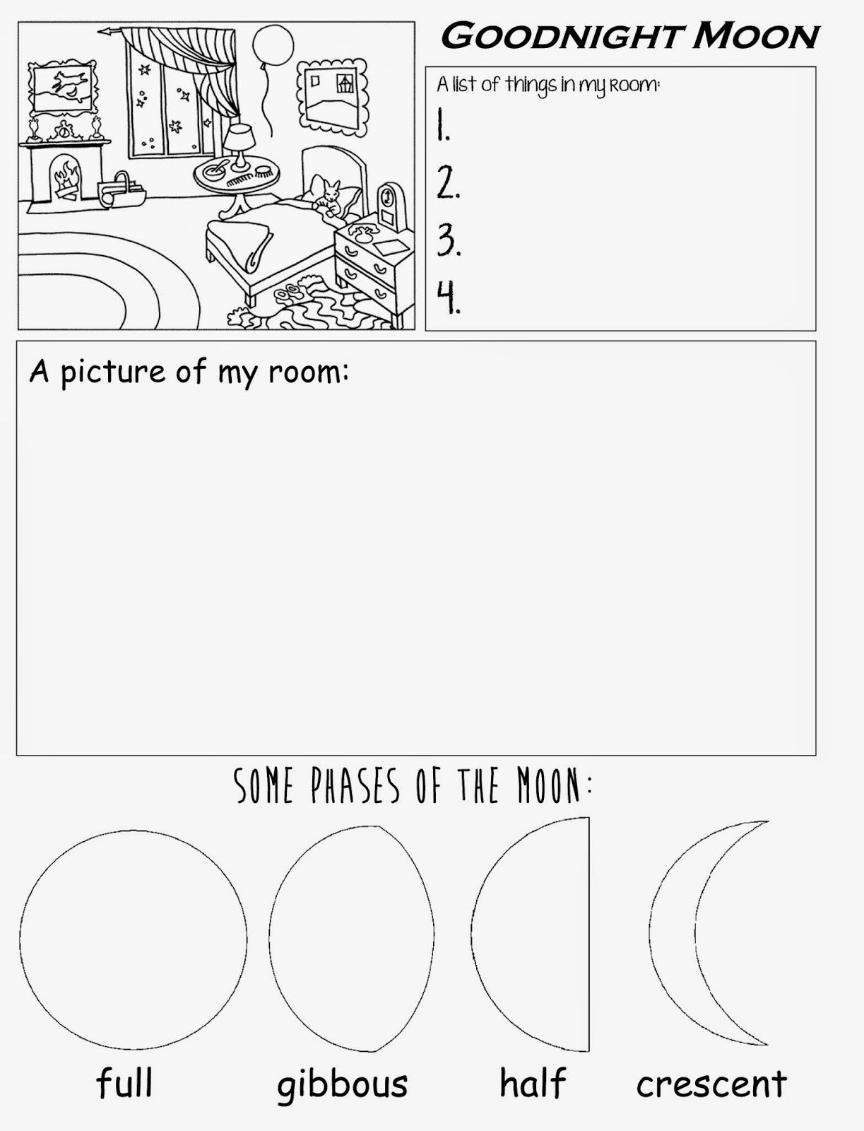 Goodnight Moon Free Printable Worksheet For Preschool Kindergarten | Phases Of The Moon Printable Worksheets