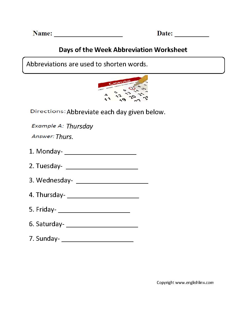 Grammar Mechanics Worksheets | Abbreviation Worksheets | Free Printable Abbreviation Worksheets