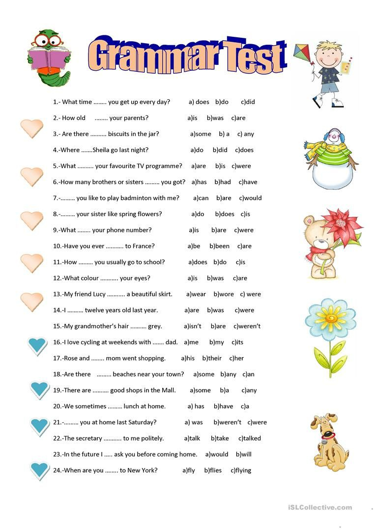 Grammar Test Worksheet - Free Esl Printable Worksheets Made - Free | Free Printable Esl Grammar Worksheets