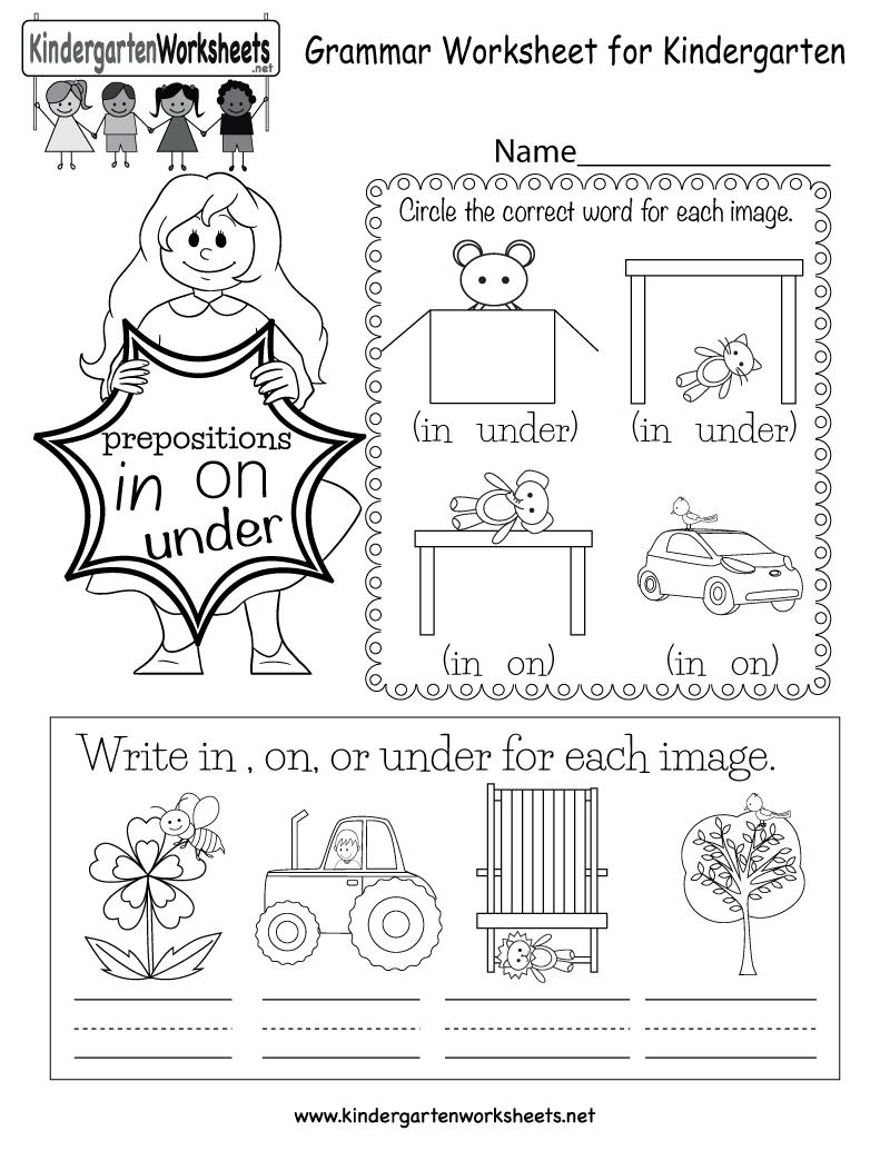 Grammar Worksheet - Free Kindergarten English Worksheet For Kids | Kindergarten Ela Printable Worksheets